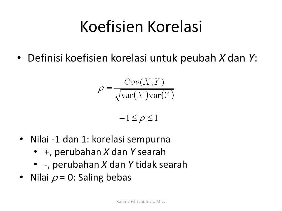 Koefisien Korelasi Definisi koefisien korelasi untuk peubah X dan Y:
