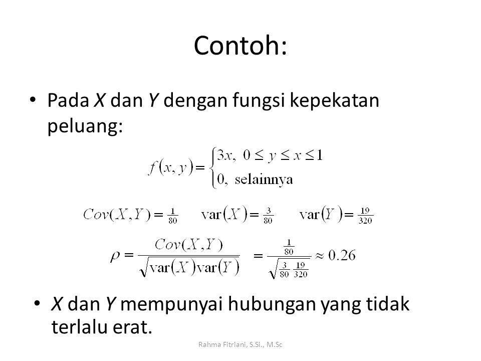 Contoh: Pada X dan Y dengan fungsi kepekatan peluang: