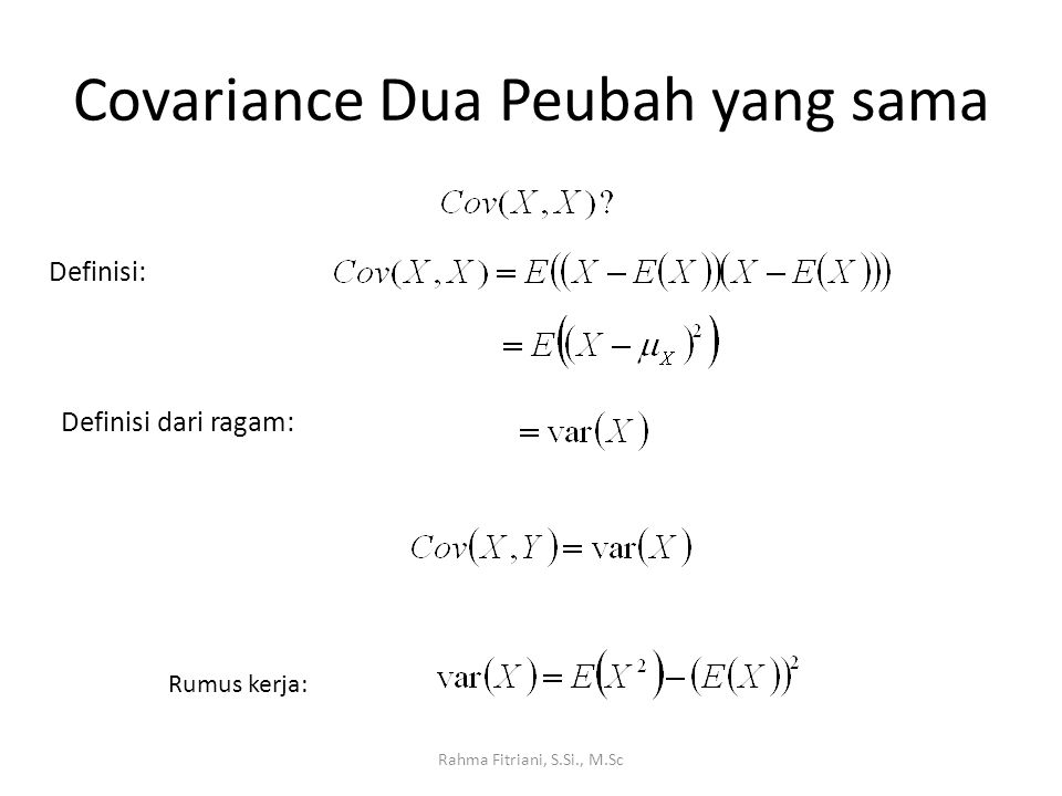 Covariance Dua Peubah yang sama