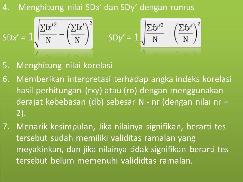 4. Menghitung nilai SDx′ dan SDy' dengan rumus