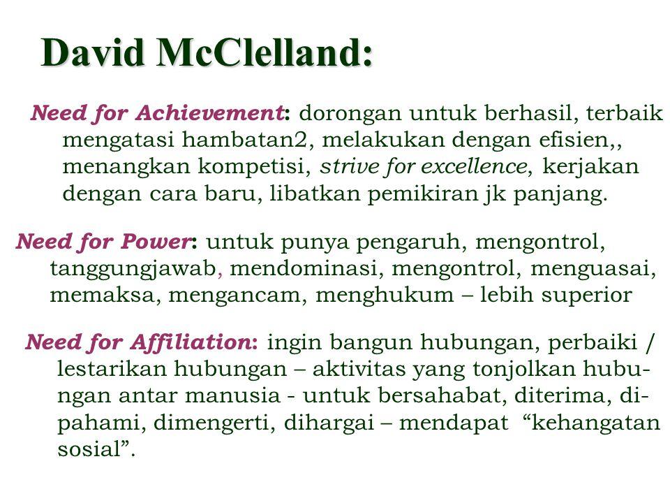 David McClelland: Need for Achievement: dorongan untuk berhasil, terbaik. mengatasi hambatan2, melakukan dengan efisien,,