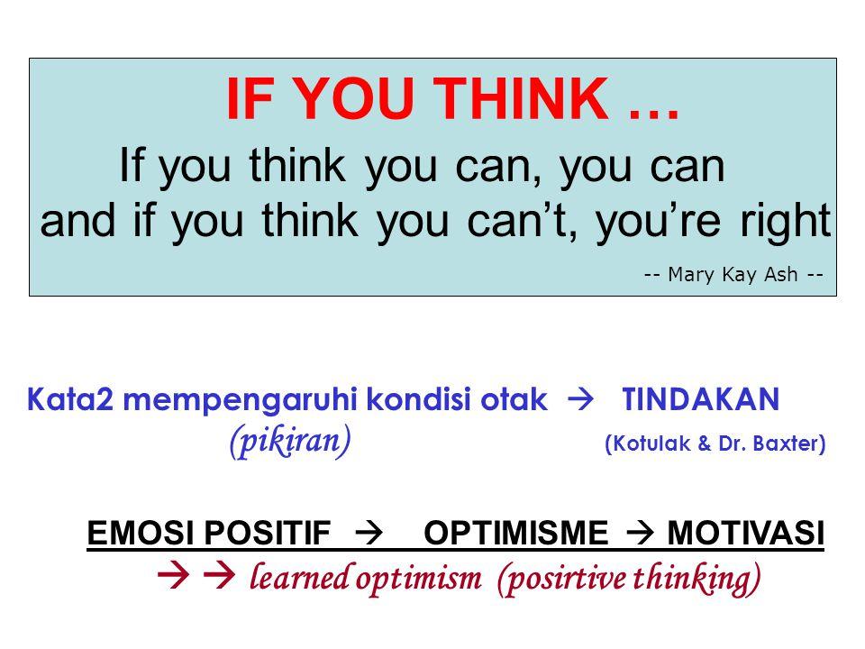 IF YOU THINK … If you think you can, you can