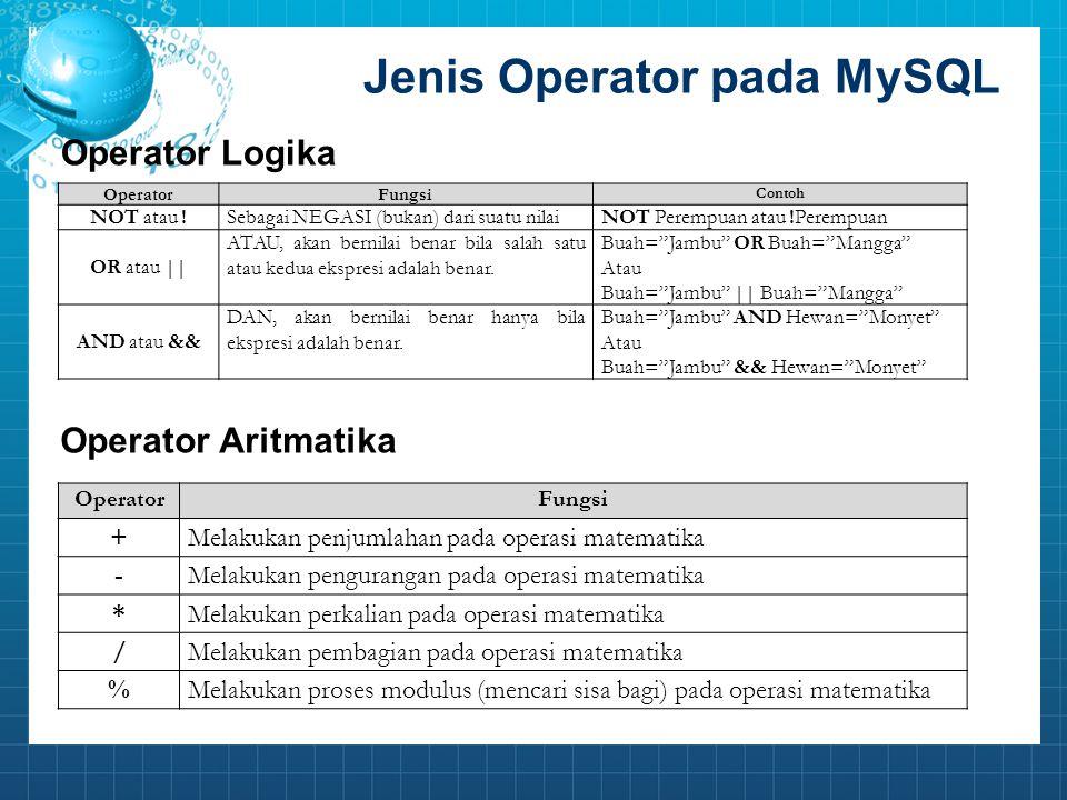 Jenis Operator pada MySQL