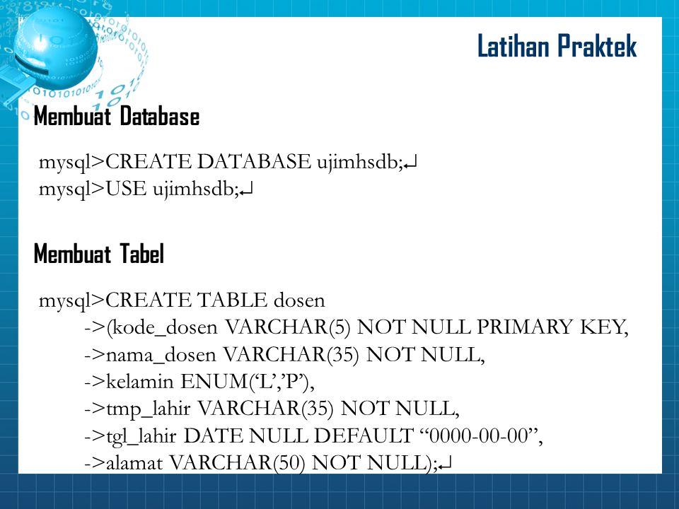 Latihan Praktek Membuat Database Membuat Tabel