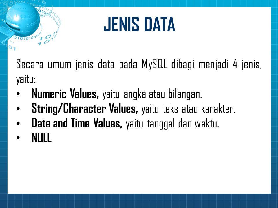 JENIS DATA Secara umum jenis data pada MySQL dibagi menjadi 4 jenis, yaitu: Numeric Values, yaitu angka atau bilangan.