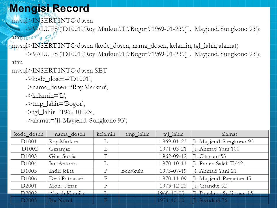 Mengisi Record mysql>INSERT INTO dosen