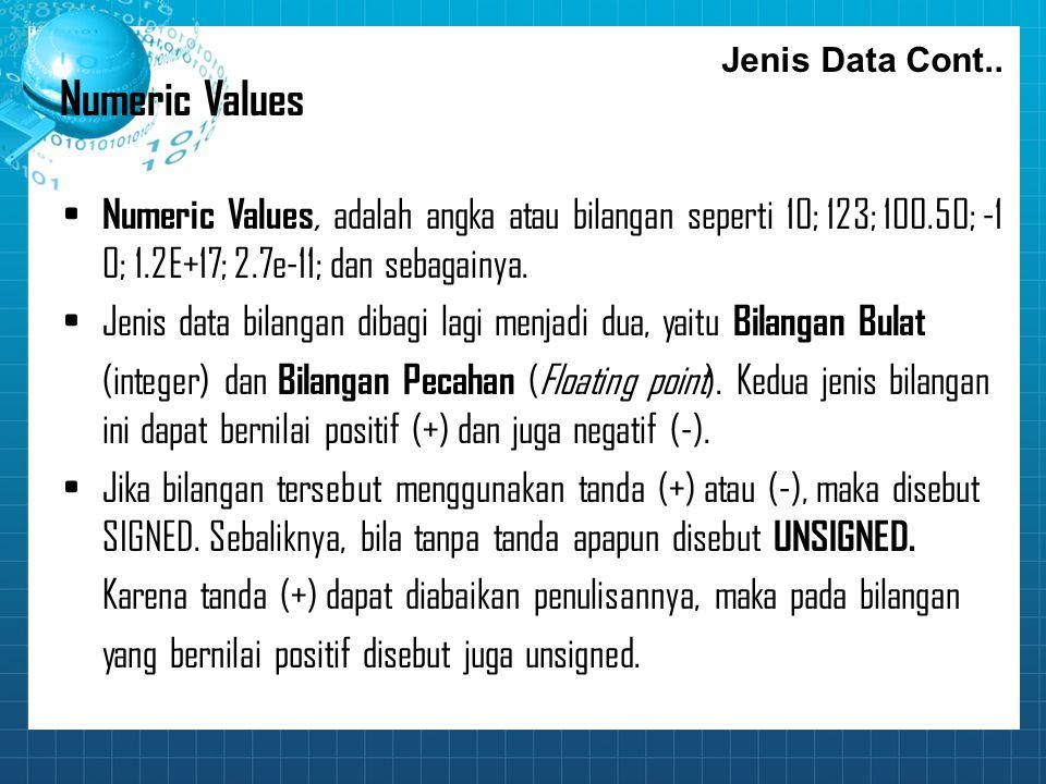 Jenis Data Cont.. Numeric Values. Numeric Values, adalah angka atau bilangan seperti 10; 123; 100.50; ‑10; 1.2E+17; 2.7e‑11; dan sebagainya.
