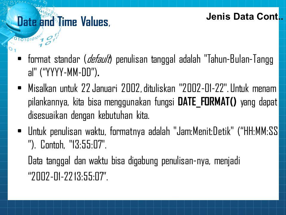 Date and Time Values, Jenis Data Cont.. format standar (default) penulisan tanggal adalah Tahun‑Bulan‑Tanggal ( YYYY-MM-DD ).