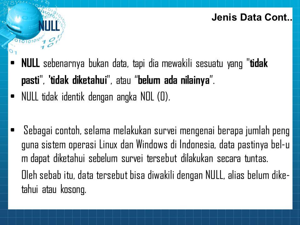 NULL NULL sebenarnya bukan data, tapi dia mewakili sesuatu yang tidak