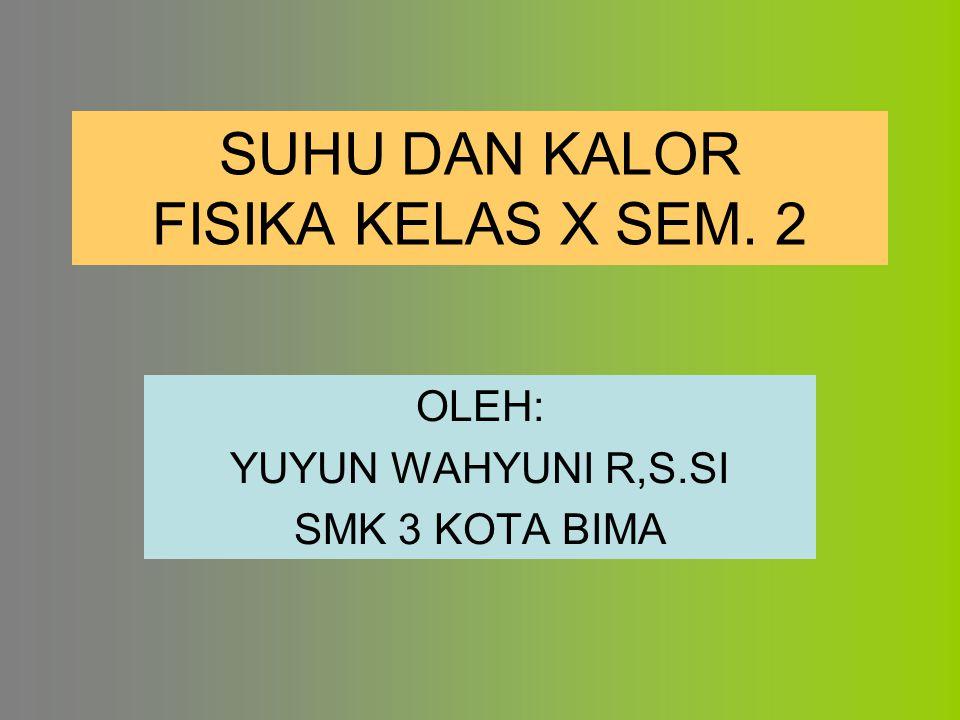 SUHU DAN KALOR FISIKA KELAS X SEM. 2