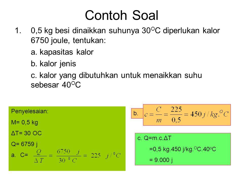 Contoh Soal 0,5 kg besi dinaikkan suhunya 30OC diperlukan kalor 6750 joule, tentukan: a. kapasitas kalor.