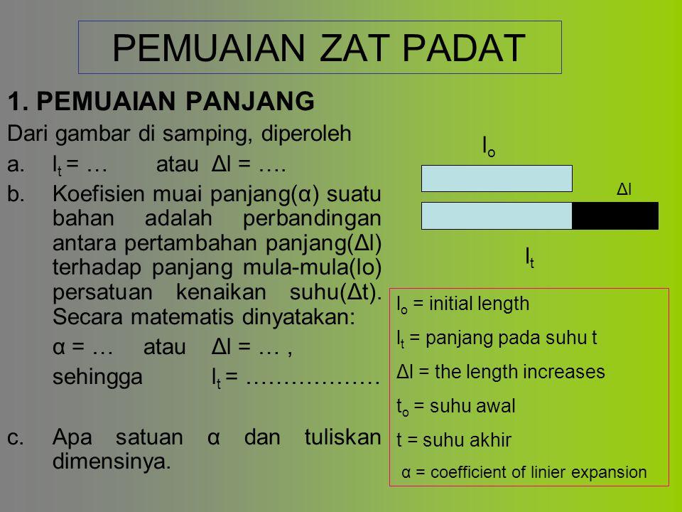 PEMUAIAN ZAT PADAT 1. PEMUAIAN PANJANG