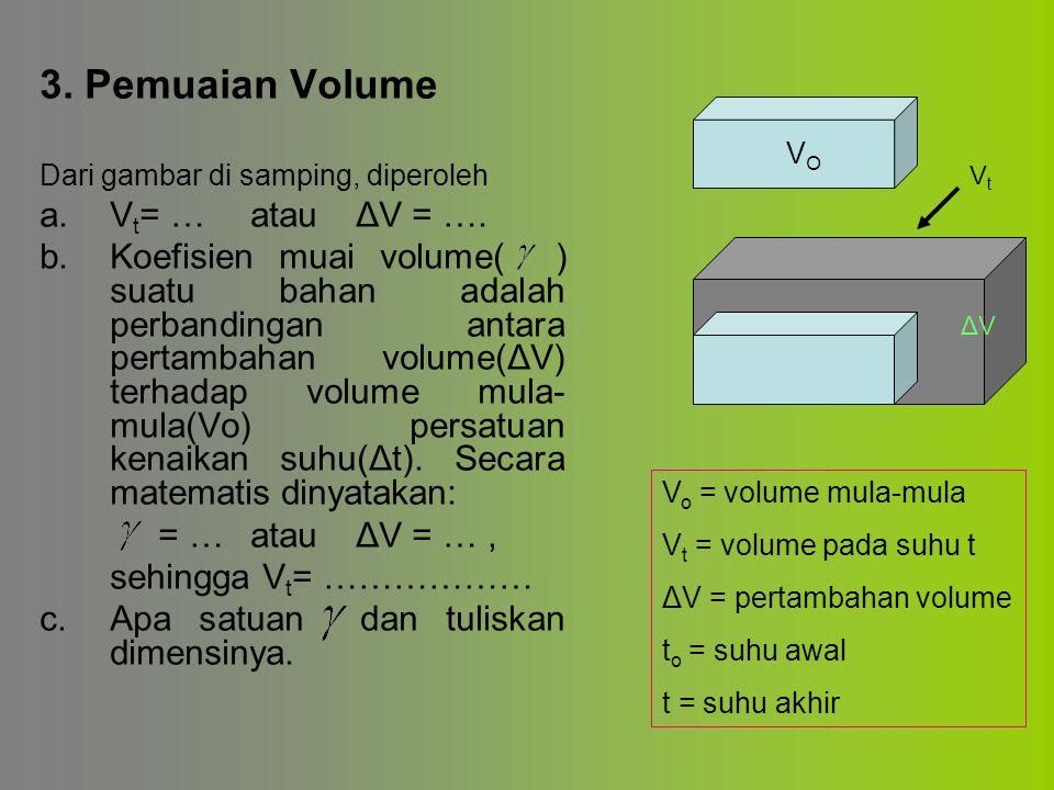 3. Pemuaian Volume a. Vt= … atau ΔV = ….