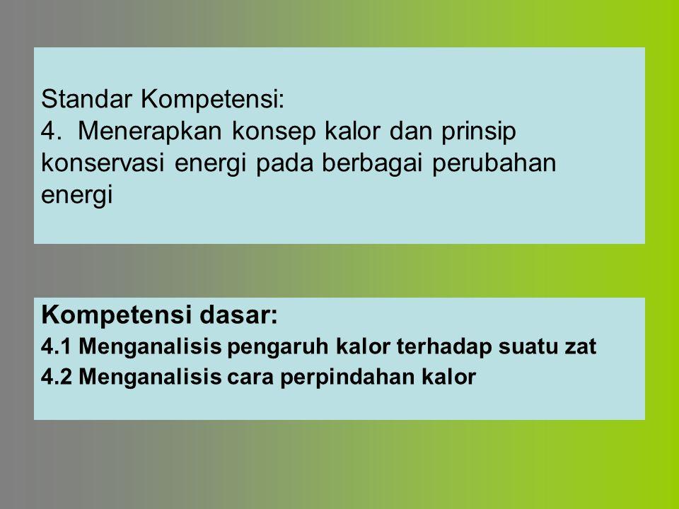 Standar Kompetensi: 4. Menerapkan konsep kalor dan prinsip konservasi energi pada berbagai perubahan energi