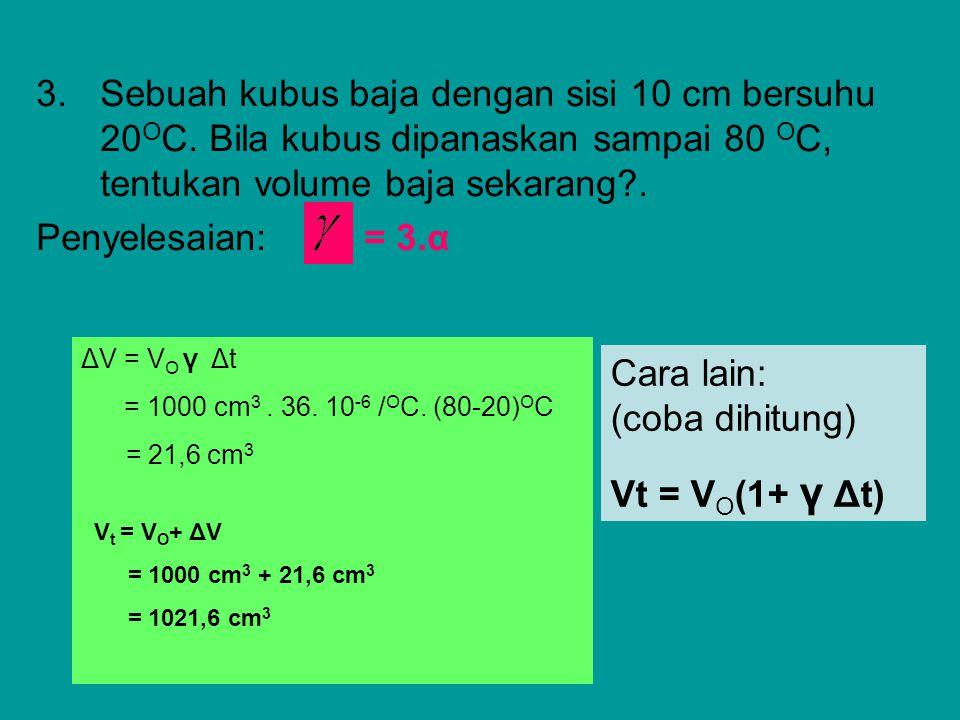 Cara lain: (coba dihitung) Vt = VO(1+ γ Δt)