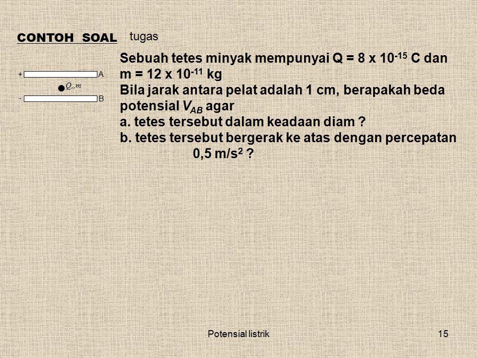 Sebuah tetes minyak mempunyai Q = 8 x 10-15 C dan m = 12 x 10-11 kg