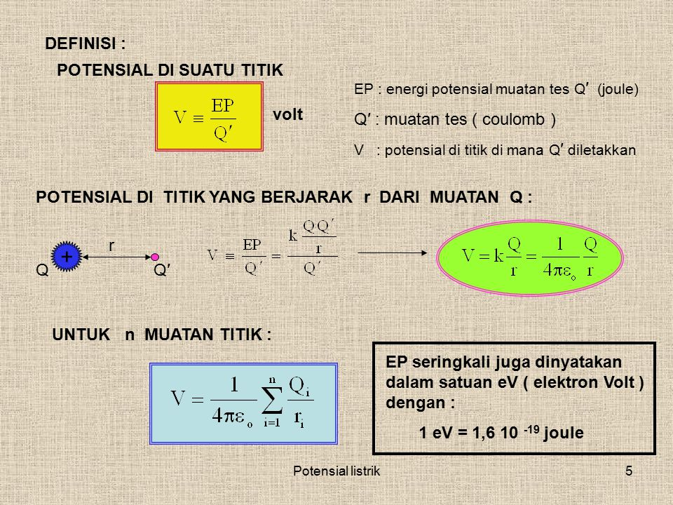 + DEFINISI : POTENSIAL DI SUATU TITIK Q′ : muatan tes ( coulomb ) volt