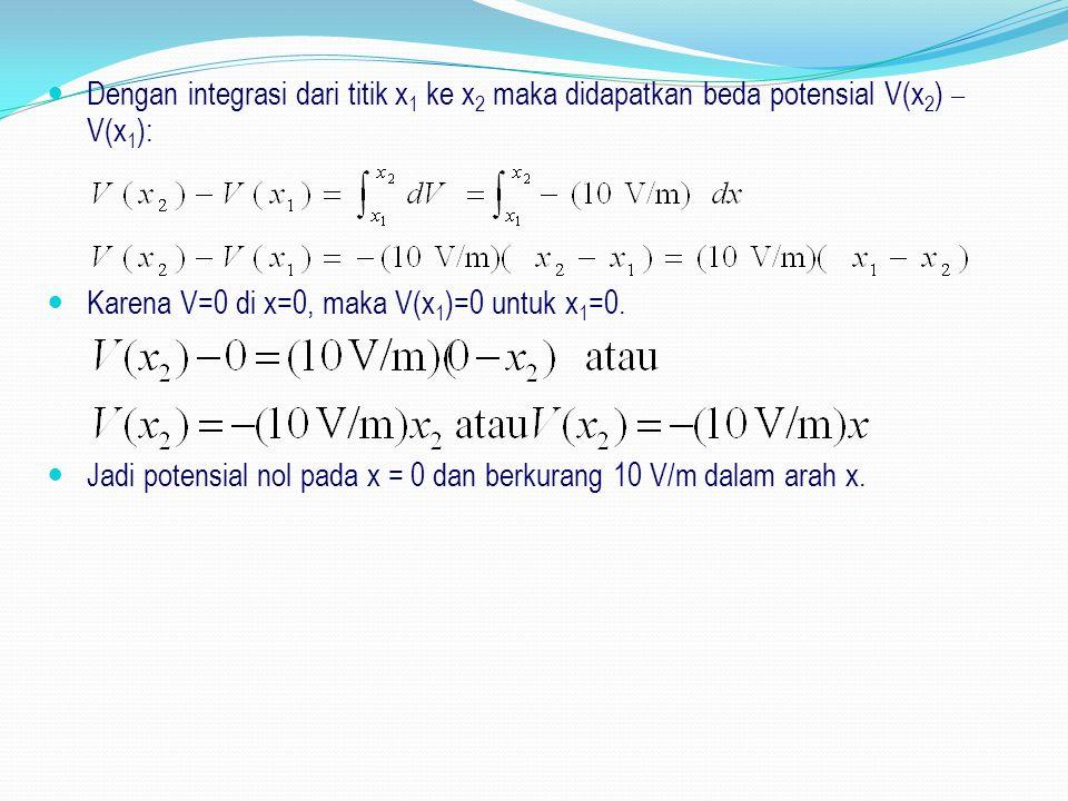 Dengan integrasi dari titik x1 ke x2 maka didapatkan beda potensial V(x2) – V(x1):