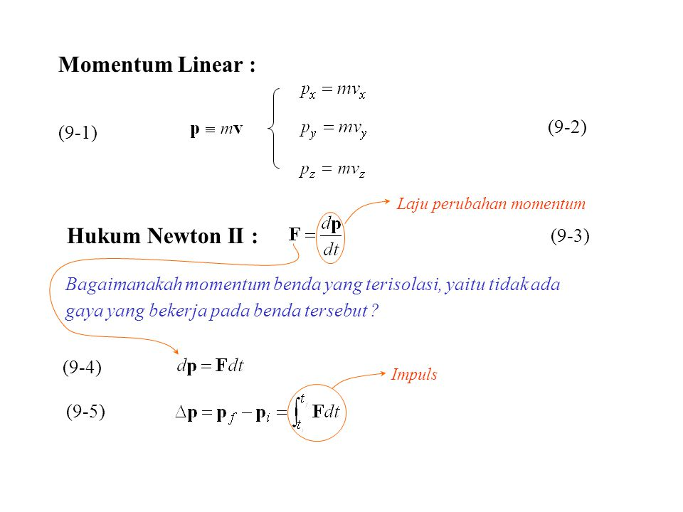 Momentum Linear : Hukum Newton II : (9-2) (9-1) (9-3)