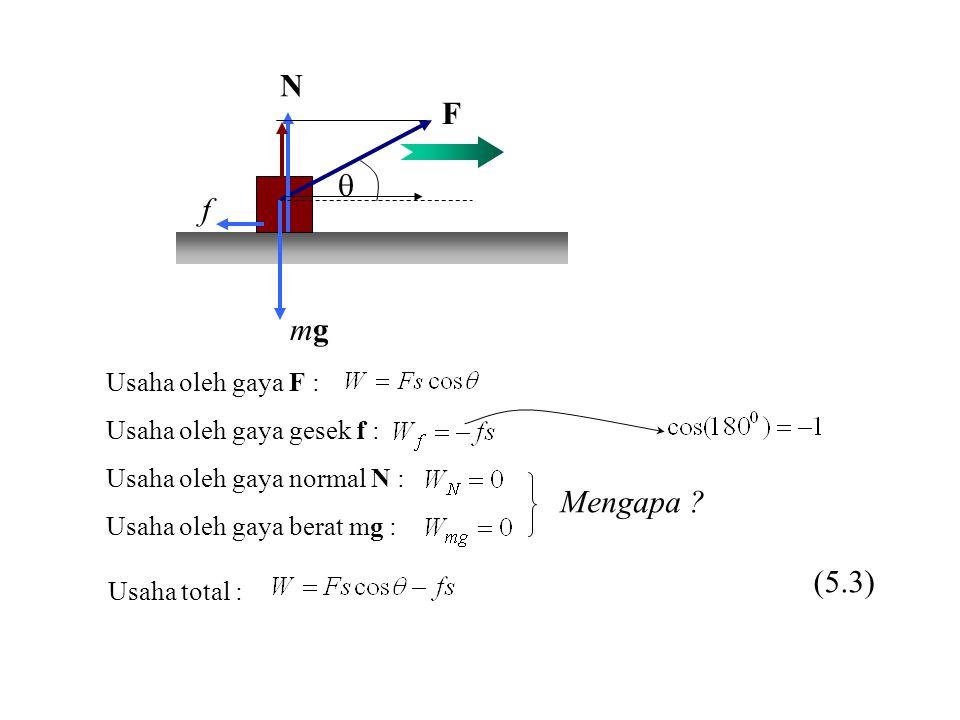 N F q f mg Mengapa (5.3) Usaha oleh gaya F :