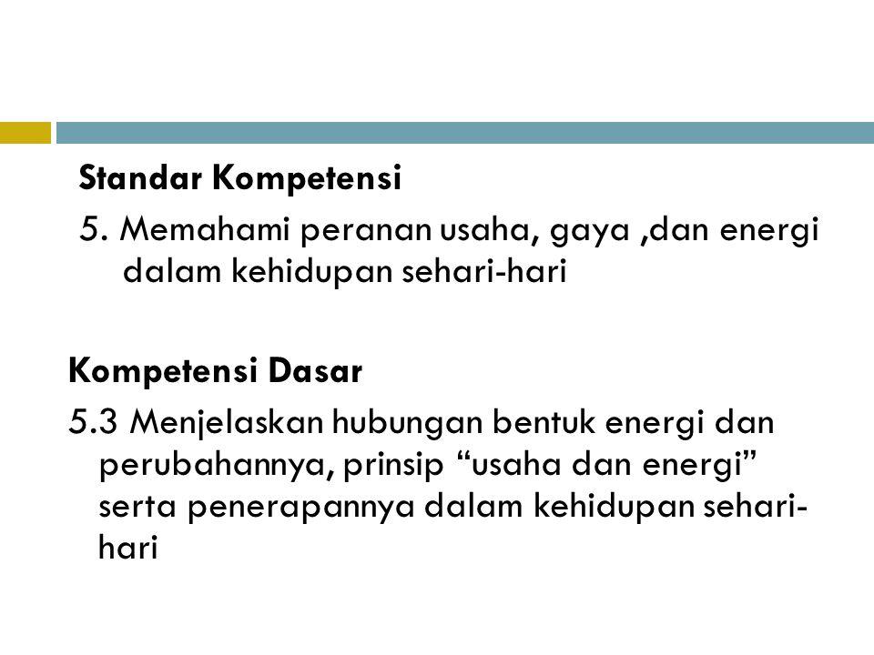 Standar Kompetensi 5. Memahami peranan usaha, gaya ,dan energi dalam kehidupan sehari-hari. Kompetensi Dasar.