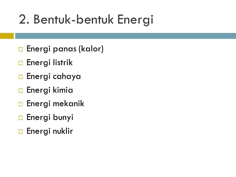 2. Bentuk-bentuk Energi Energi panas (kalor) Energi listrik