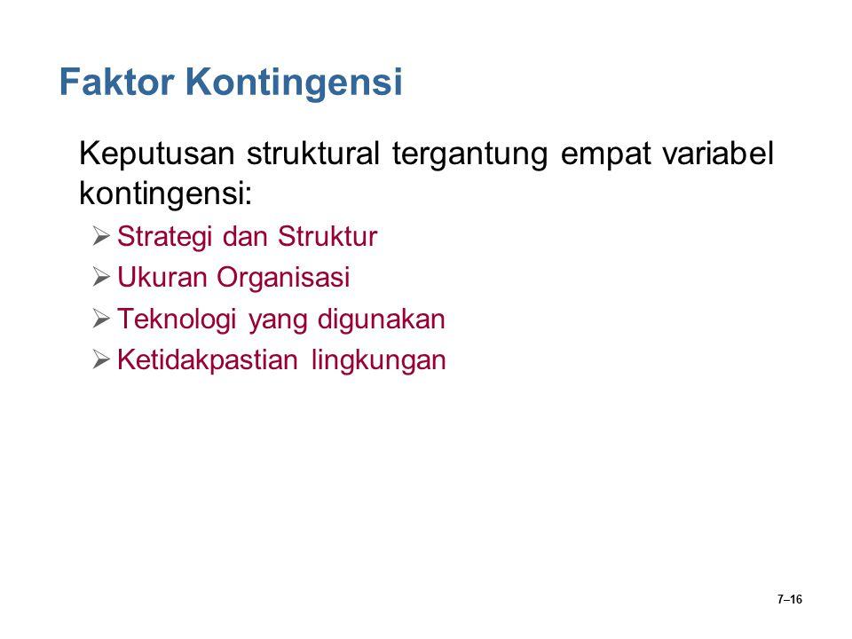 Faktor Kontingensi Keputusan struktural tergantung empat variabel kontingensi: Strategi dan Struktur.