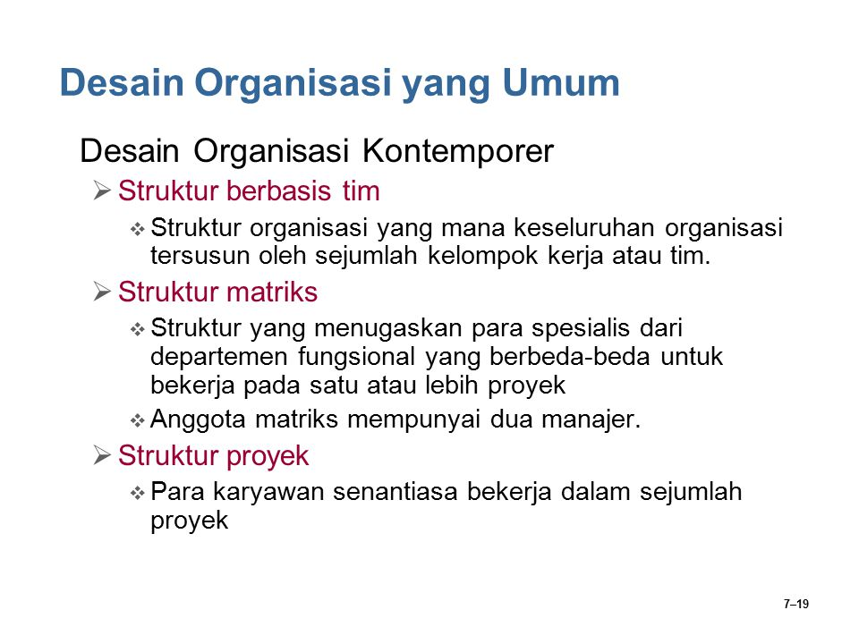 Desain Organisasi yang Umum