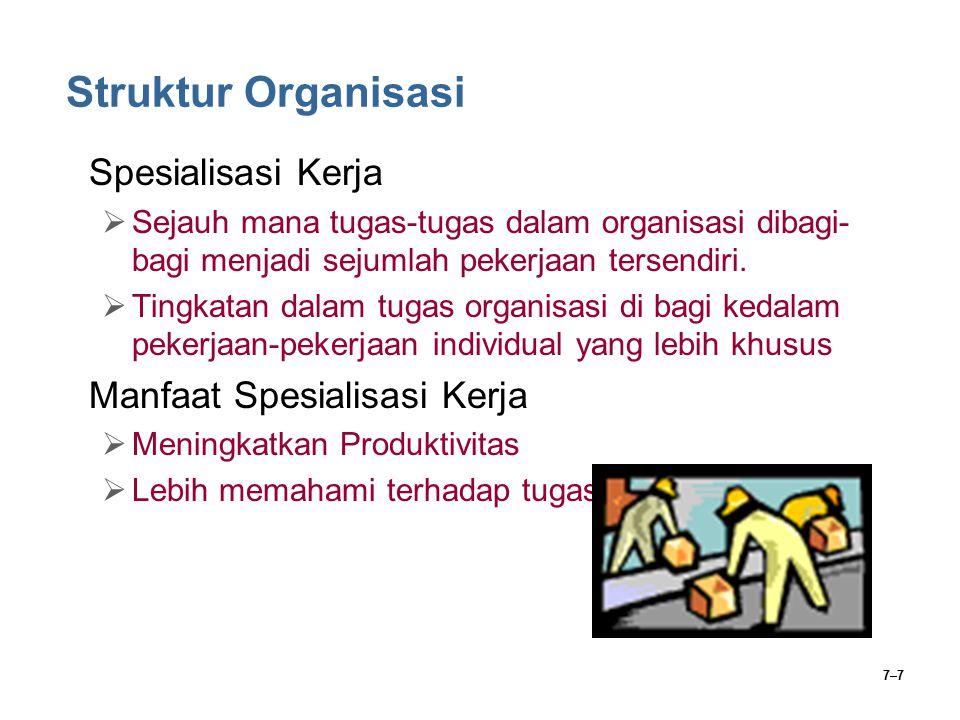 Struktur Organisasi Spesialisasi Kerja Manfaat Spesialisasi Kerja