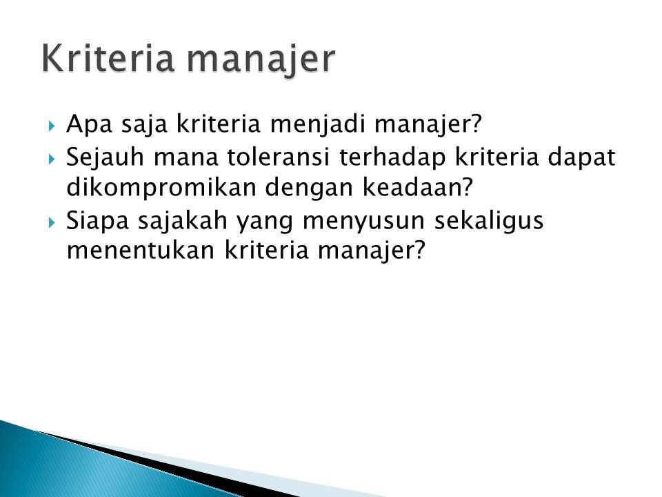 Kriteria manajer Apa saja kriteria menjadi manajer