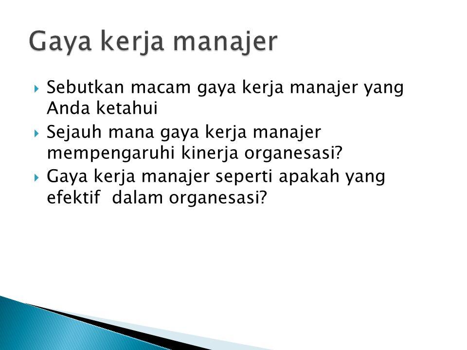 Gaya kerja manajer Sebutkan macam gaya kerja manajer yang Anda ketahui