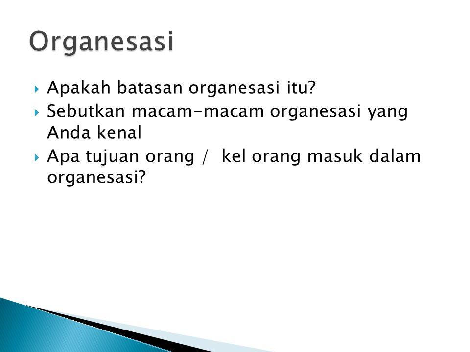 Organesasi Apakah batasan organesasi itu