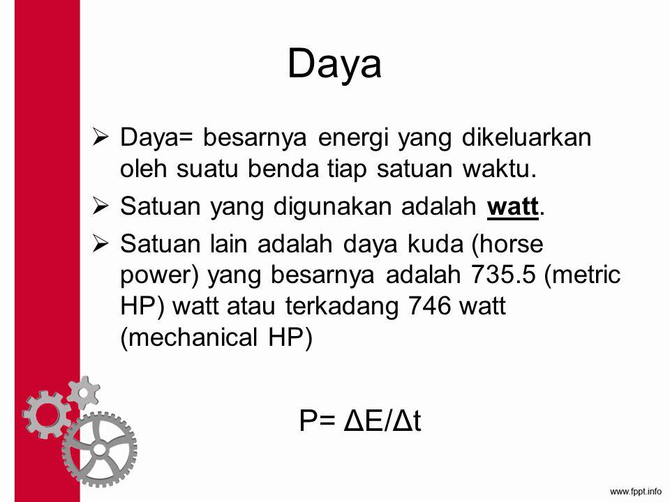 Daya Daya= besarnya energi yang dikeluarkan oleh suatu benda tiap satuan waktu. Satuan yang digunakan adalah watt.