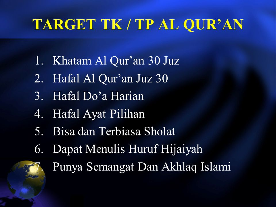 TARGET TK / TP AL QUR'AN Khatam Al Qur'an 30 Juz