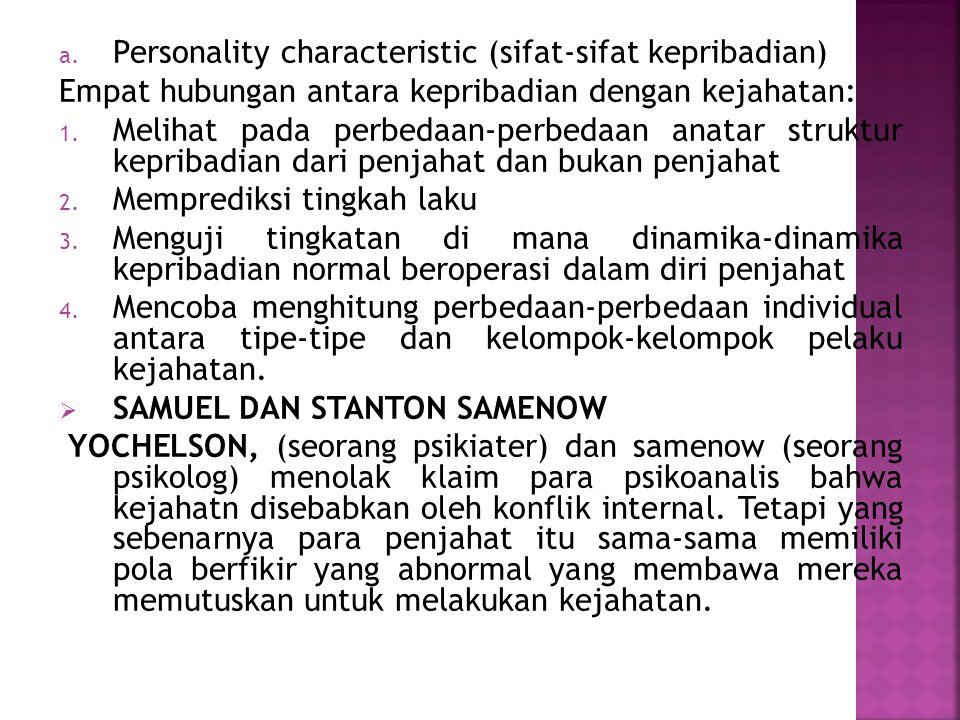 Personality characteristic (sifat-sifat kepribadian)