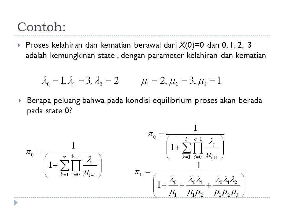 Contoh: Proses kelahiran dan kematian berawal dari X(0)=0 dan 0, 1, 2, 3 adalah kemungkinan state , dengan parameter kelahiran dan kematian.