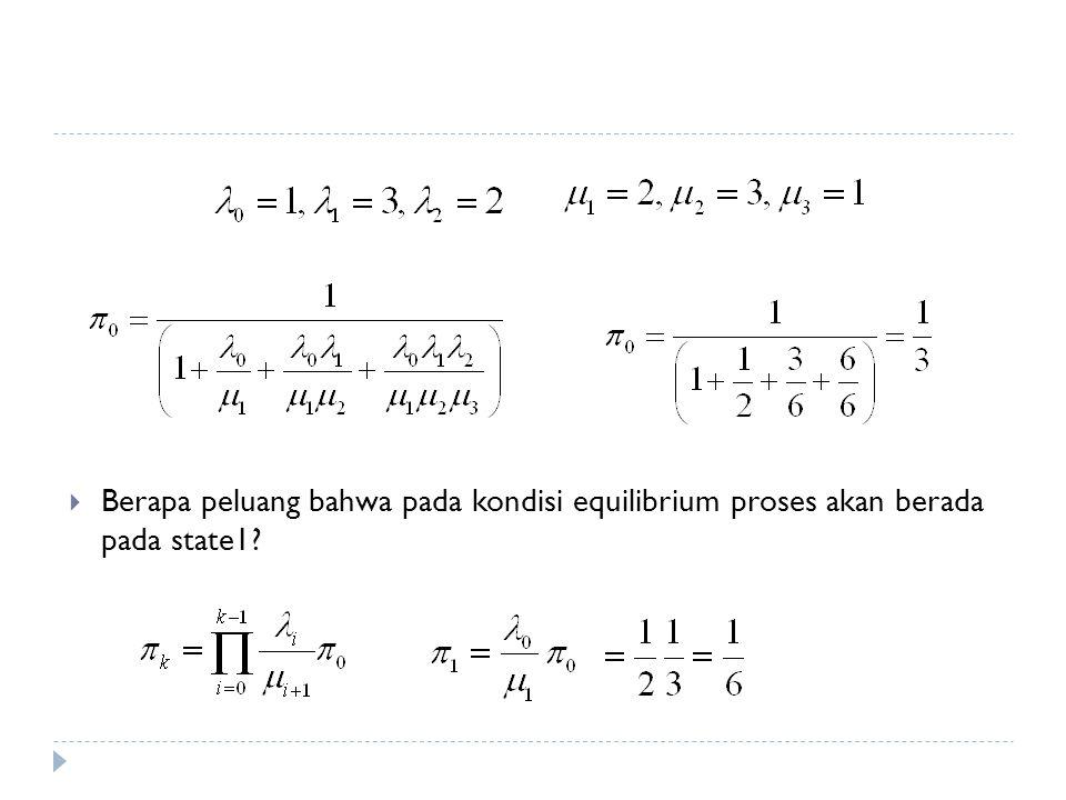 Berapa peluang bahwa pada kondisi equilibrium proses akan berada pada state1