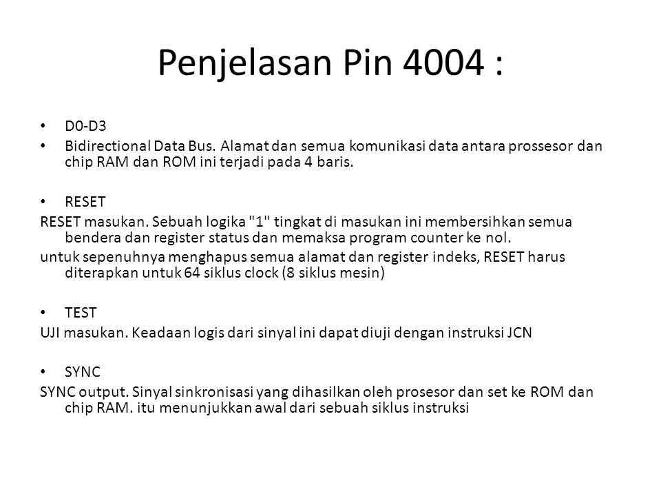 Penjelasan Pin 4004 : D0-D3.