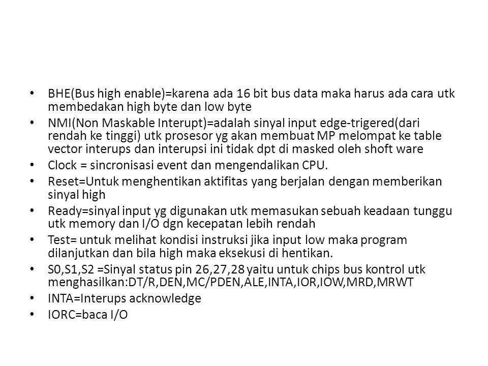BHE(Bus high enable)=karena ada 16 bit bus data maka harus ada cara utk membedakan high byte dan low byte
