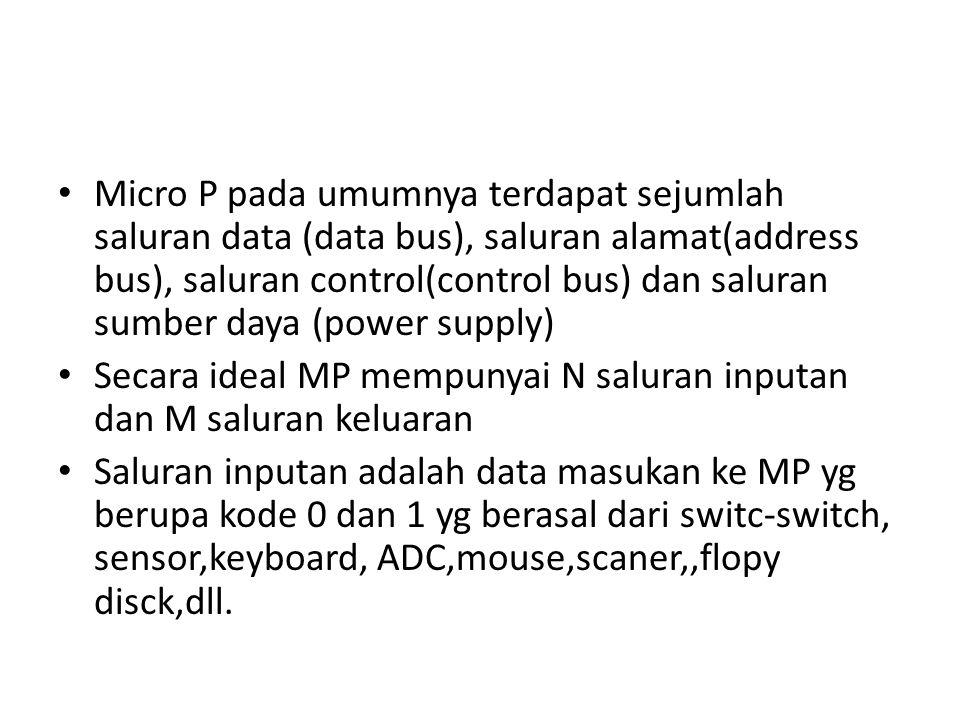 Micro P pada umumnya terdapat sejumlah saluran data (data bus), saluran alamat(address bus), saluran control(control bus) dan saluran sumber daya (power supply)