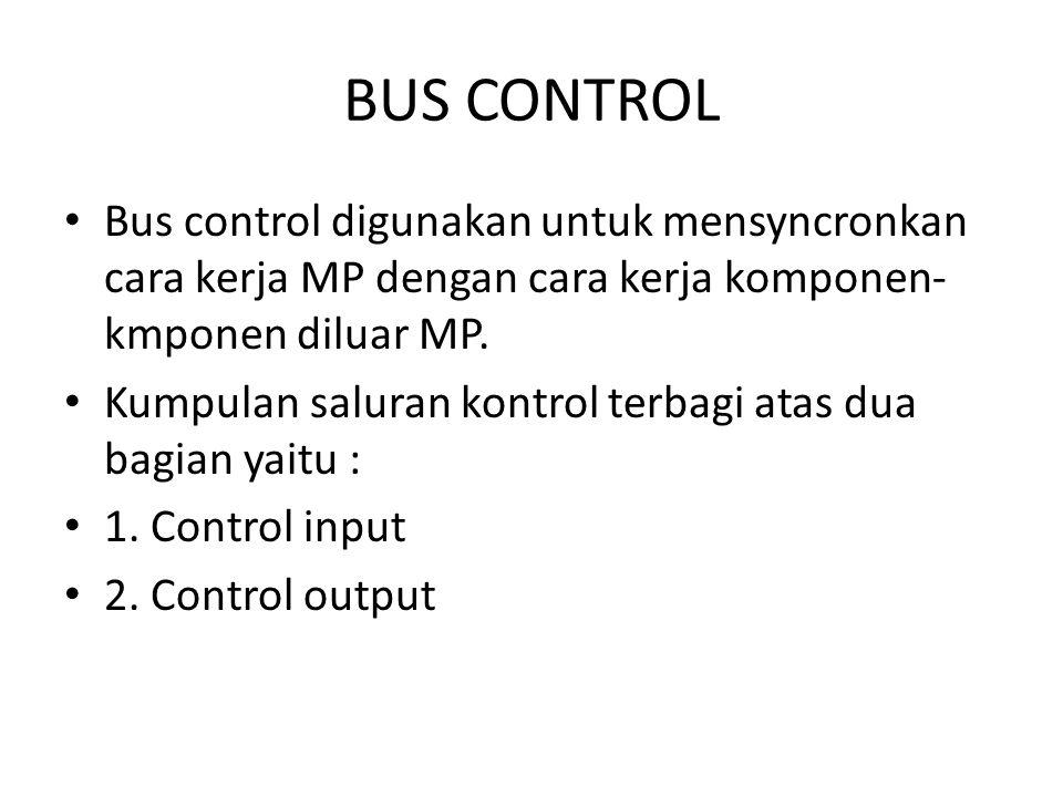 BUS CONTROL Bus control digunakan untuk mensyncronkan cara kerja MP dengan cara kerja komponen-kmponen diluar MP.