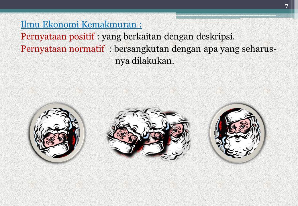 Ilmu Ekonomi Kemakmuran : Pernyataan positif : yang berkaitan dengan deskripsi.