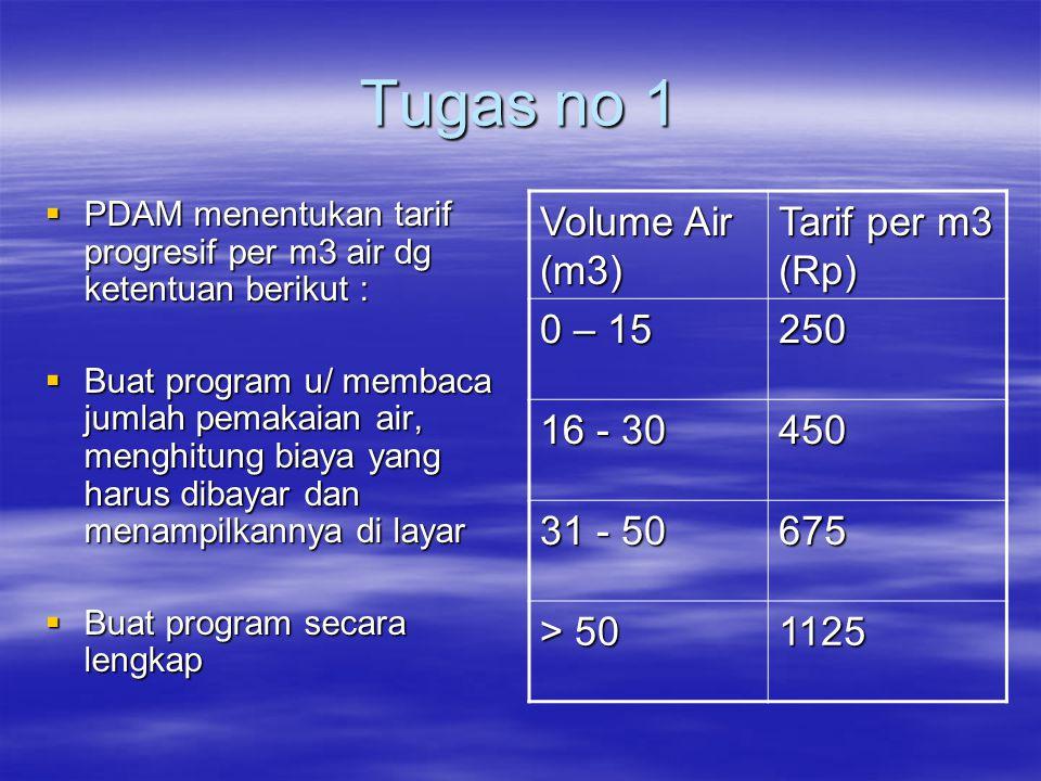 Tugas no 1 Volume Air (m3) Tarif per m3 (Rp) 0 – 15 250 16 - 30 450