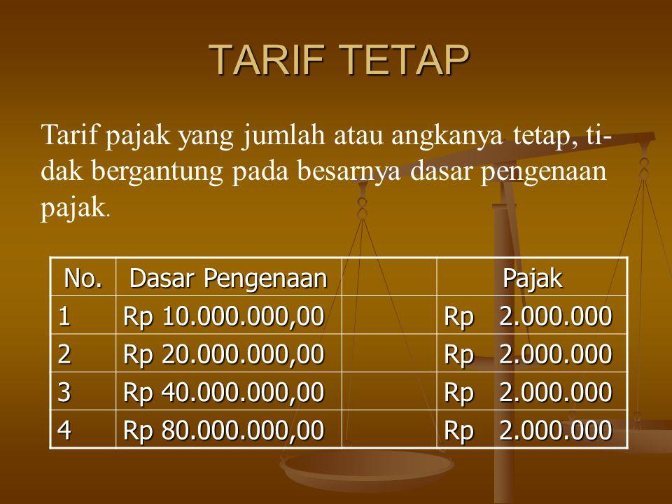 TARIF TETAP Tarif pajak yang jumlah atau angkanya tetap, ti-dak bergantung pada besarnya dasar pengenaan pajak.
