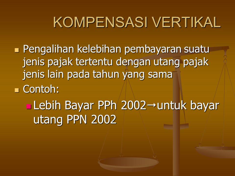 KOMPENSASI VERTIKAL Lebih Bayar PPh 2002untuk bayar utang PPN 2002