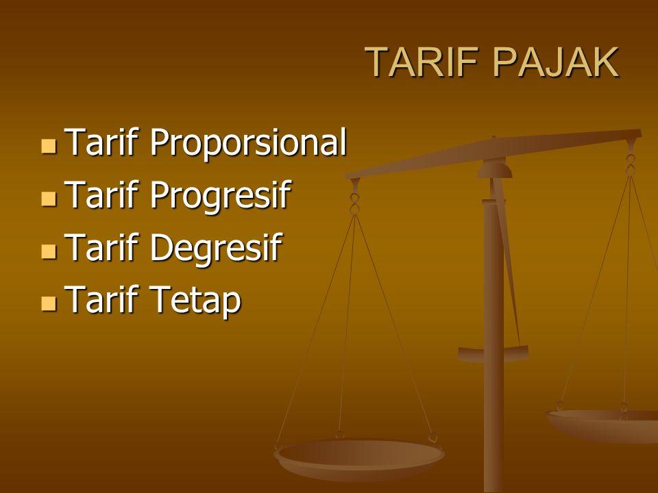 TARIF PAJAK Tarif Proporsional Tarif Progresif Tarif Degresif