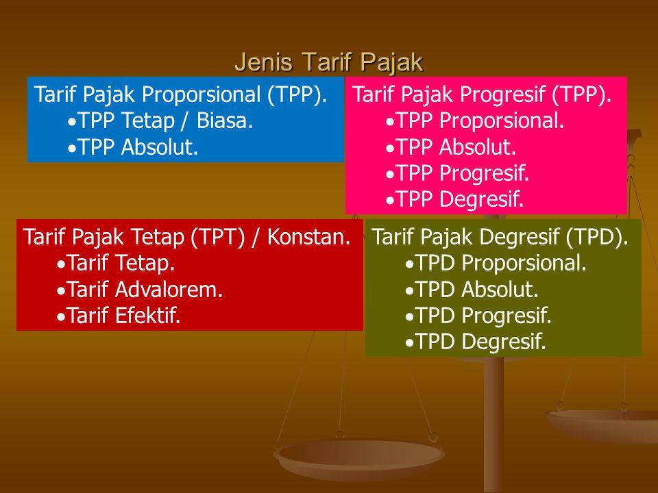 Jenis Tarif Pajak Tarif Pajak Proporsional (TPP). TPP Tetap / Biasa.