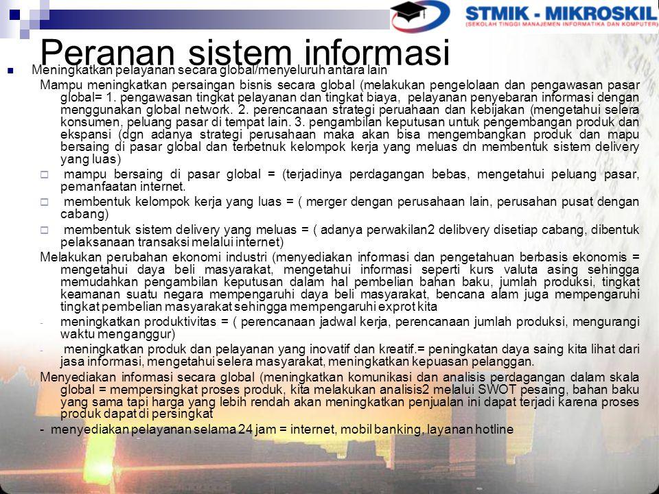 Peranan sistem informasi