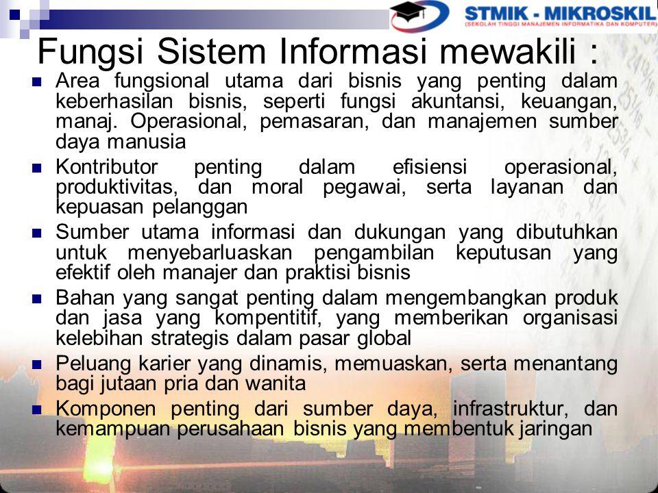 Fungsi Sistem Informasi mewakili :