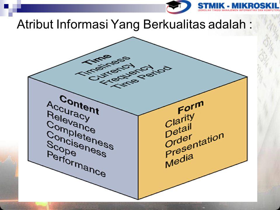 Atribut Informasi Yang Berkualitas adalah :